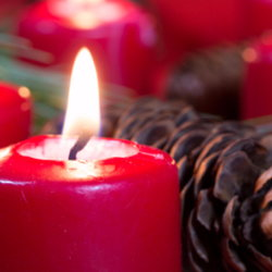 Red candles, pine branches, and pine cones make up a Christmas centerpiece.
