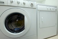 washing machine and dryer indoors