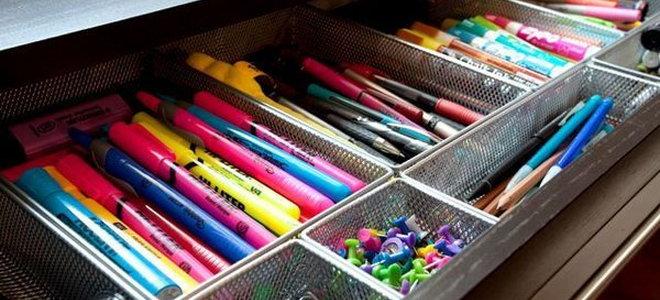 drawer with metal organizer inside