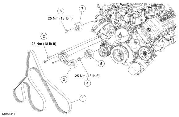Ford F150 How To Replace Idler And Tension Pulleys 359907 on 1996 powerstroke engine diagram