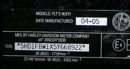 Harley Davidson VIN tag