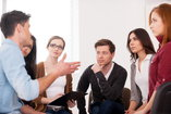 people discussing in support group