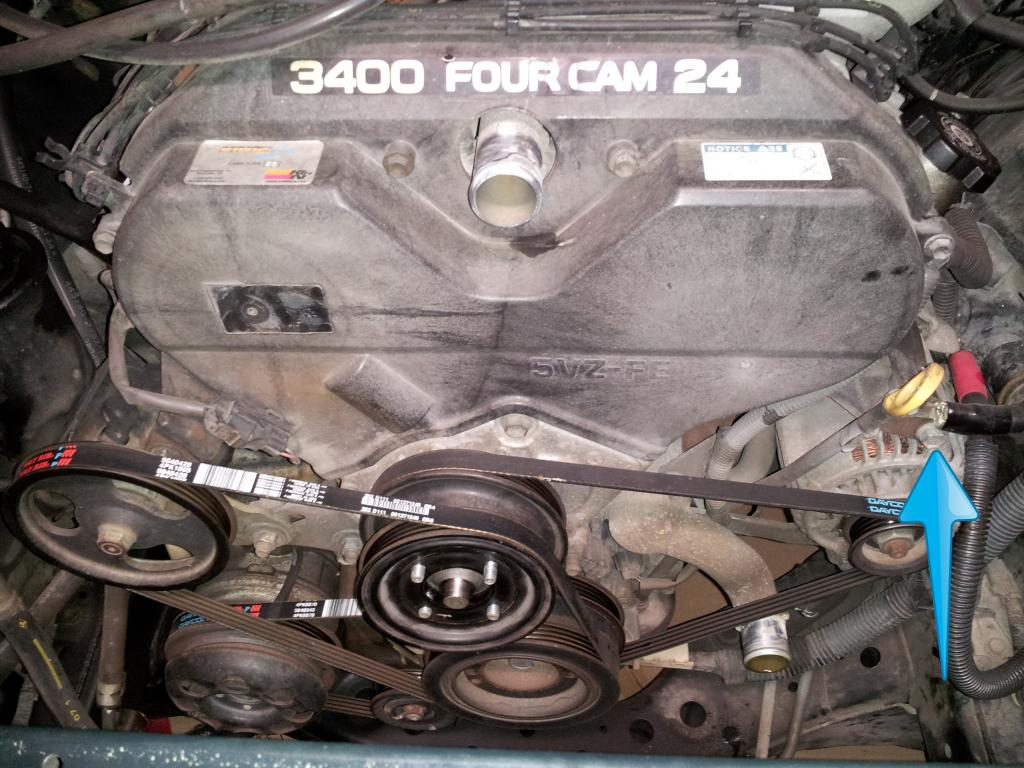 Discussion T16816 ds577757 also Serpentine Belt Diagram 2006 Chrysler Pacifica V6 35 Liter Engine 02190 also Toyota 4runner Ta a And Tundra How To Replace Timing Belt And Water Pump 416083 together with Toyota 4runner Ta a And Tundra How To Replace Timing Belt And Water Pump 416083 also 2001 Buick Regal Groaning Sound While Turning 6826. on toyota tacoma water pump replacement