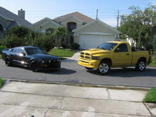 My stang and my cousins Rumble BEE