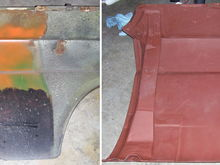 One of my favorite before and after photos.  The car had some serious rust damage on all four corners, patched by the original owner with aluminum, home made braces and Bondo.  Here, he had brushed heavy black material as far up as he could reach and then sprayed leftover spray paint up inside to try to protect the inside of the fender.  I rebuilt the original brace and patched the fender.  You can see the reapir seams on the brace and fender.