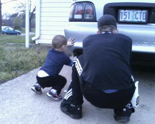 me and my boy putting the decals on gotta teach them young