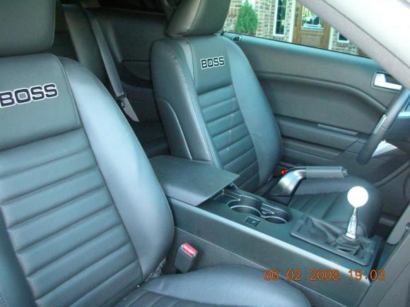 "2008 ""BOSS"" Mustang GT  - Interior - ""BOSS"" Monogramed Seats, Hurst STS, Shaker 500, Satellite, GT 500 Pedals, My Color, Ambient Lighting, MUSTANG Door Sills,"