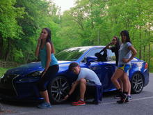 My friends posing next to my car after hiking lol 6/19/16