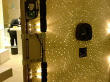 Backside of headliner depicting the LED Light engines, the Fiber Optic bundles, and individual strands. Rolls Royce uses about 10 light engines/bundles comprised of about 140 fibers/bundle