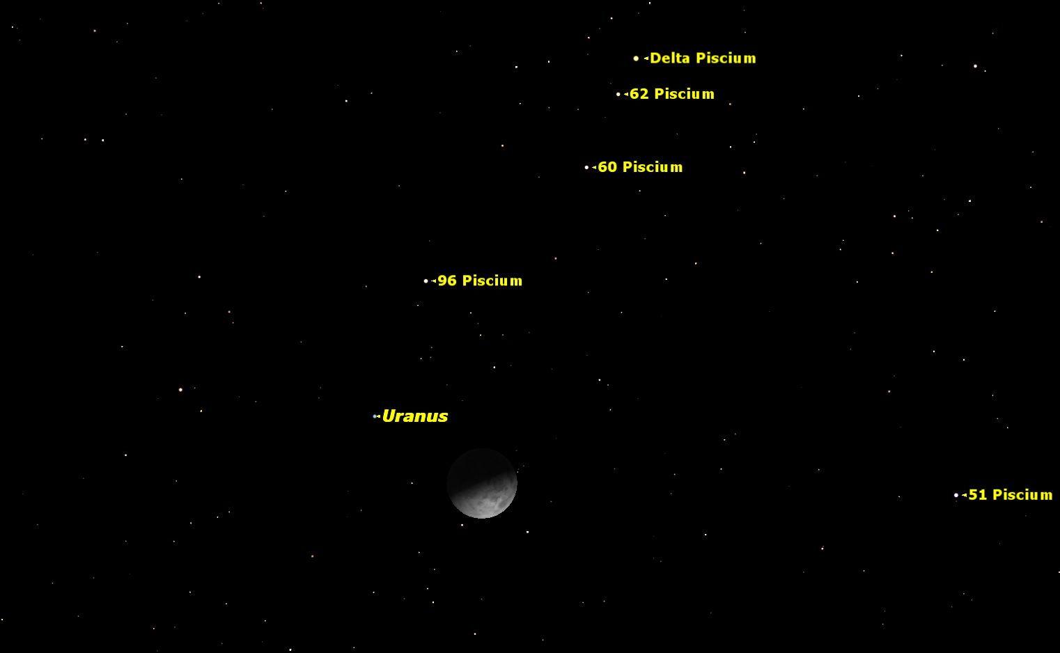 На ночном небе 28 декабря наблюдали Луну и Уран (2 фото)