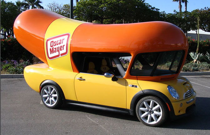 Printthread on oscar meyer weiner toy car