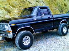 A 76 f100 I built years ago 44 inch tires with 17 in rims, 3 inch exhaust from manifold back flowmasters