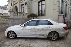 flood-damaged car, flood-damaged vehicle