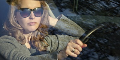 woman in car, driving car