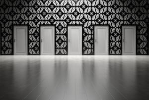 Interior doors in a row.