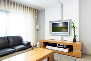 Living room with furniture and electronics