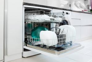 Open dishwasher full of dishes