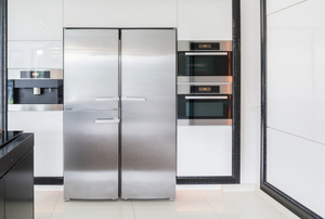 A stainless steel fridge.