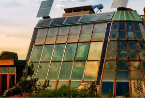earthship with glass walls
