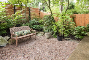 A backyard with a fence and garden.