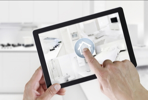 home automation app on a tablet in a modern kitchen