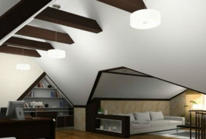 angular room design large ceiling beams