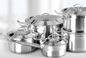 Several stainless steel pots and pans