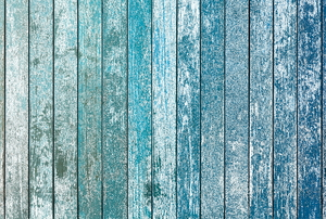 blue painted wooden wall or fence