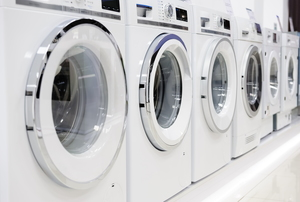washing machines lined up in a row