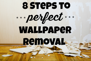 "A wall with wallpaper stripped off onto the floor with the words, ""8 Steps to perfect wallpaper removal."""