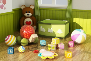 Kid toys and toy chest in a room