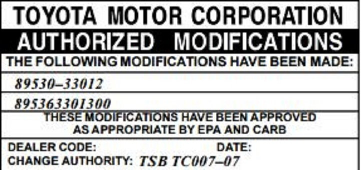 Figure 1. Under Your Hood Is A Sticker That Will Indicate If Your TCM Has  Been Upgraded For This Shift Flare Issue.
