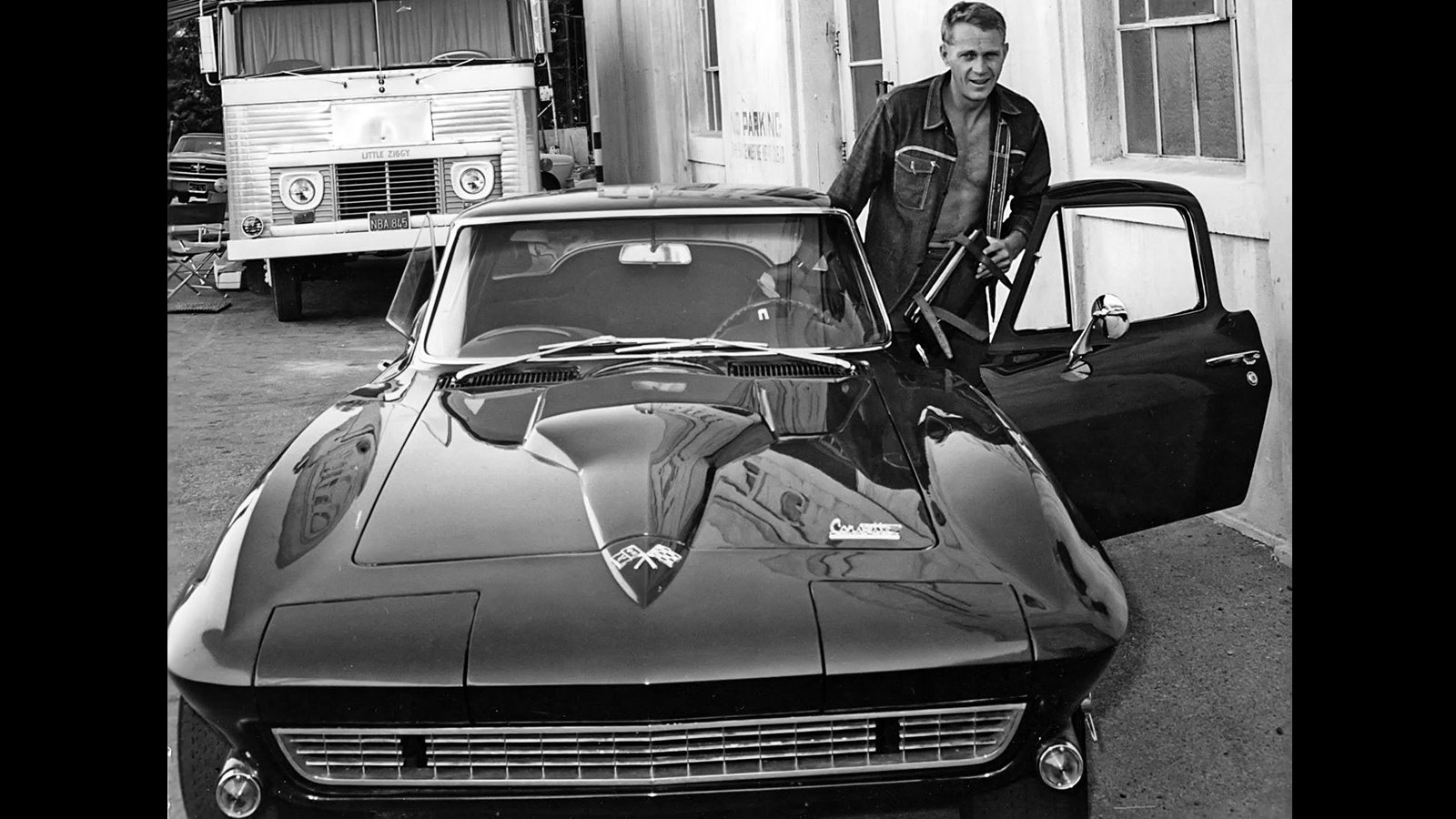 Corvette in black and white