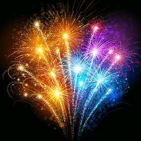 image of orange, blue, and purple fireworks