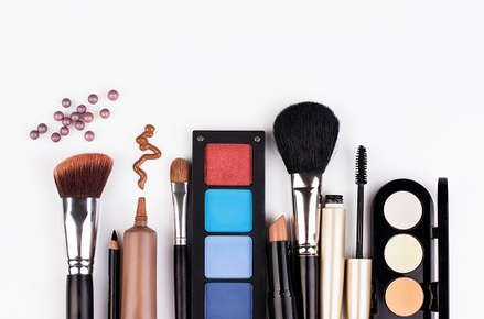 Image of a variety of makeup products.