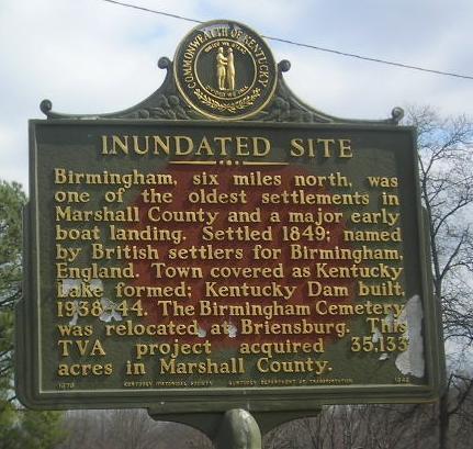 historical marker showing old Birmingham