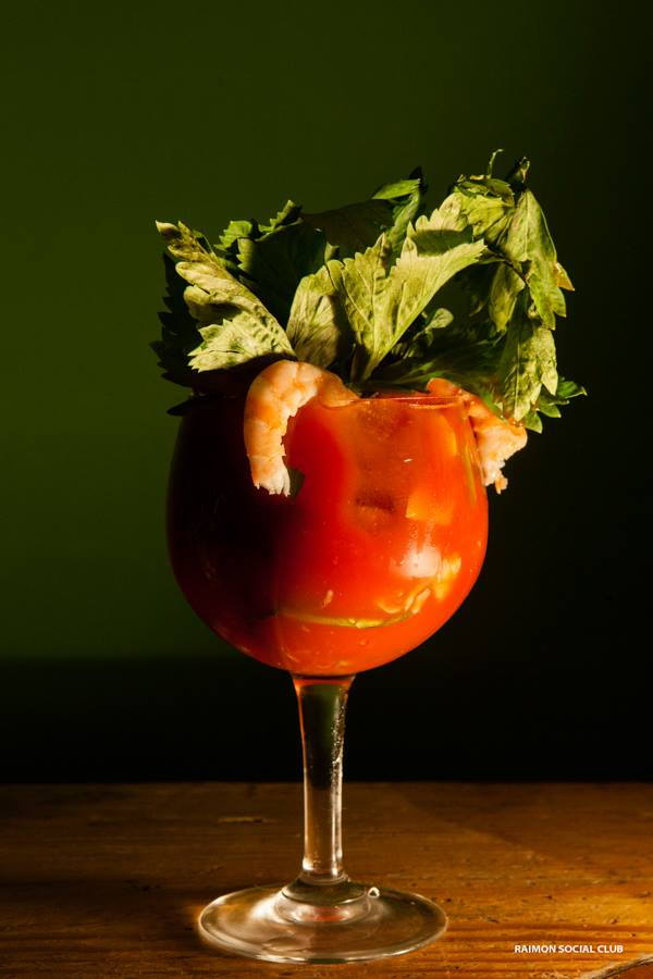 bloody mary with shrimp and herbs