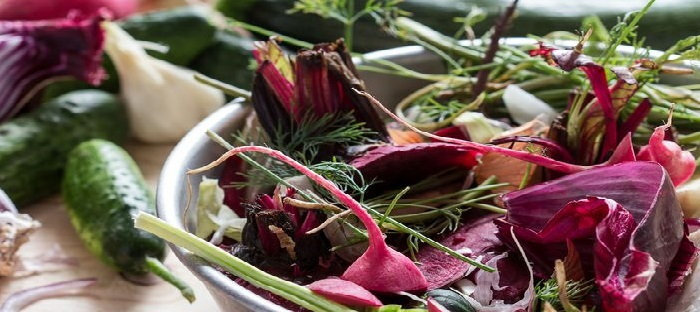 vegetable scraps in a bowl