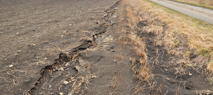 Dry Top Soil Eroding