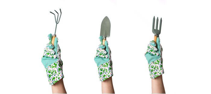 Three hands wearing garden gloves and holding up metal hand tools for yardwork