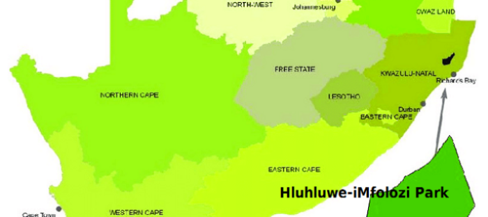Map of South African wildlife parks