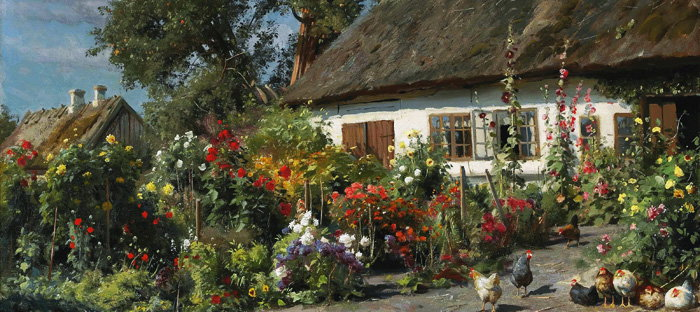 A Cottage Garden with Chickens by Peder Monsted