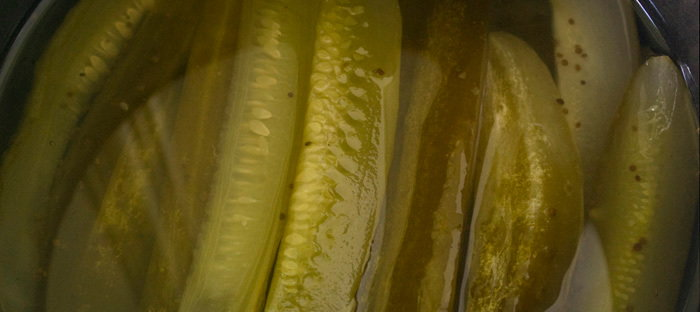 sweet pickles in crock