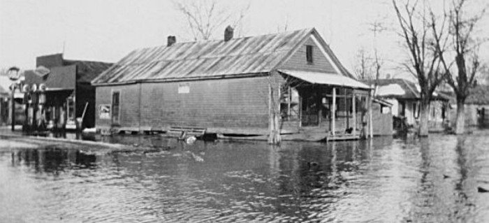 flooded street and building