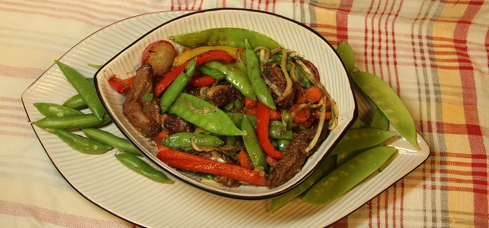 stir fry with peas, pork and vegetables