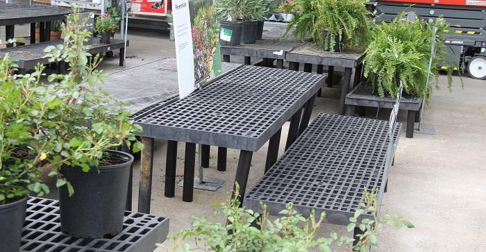 empty tables in a garden center