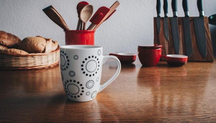 coffee mug on a counter