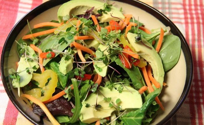 microgreens on top of salad