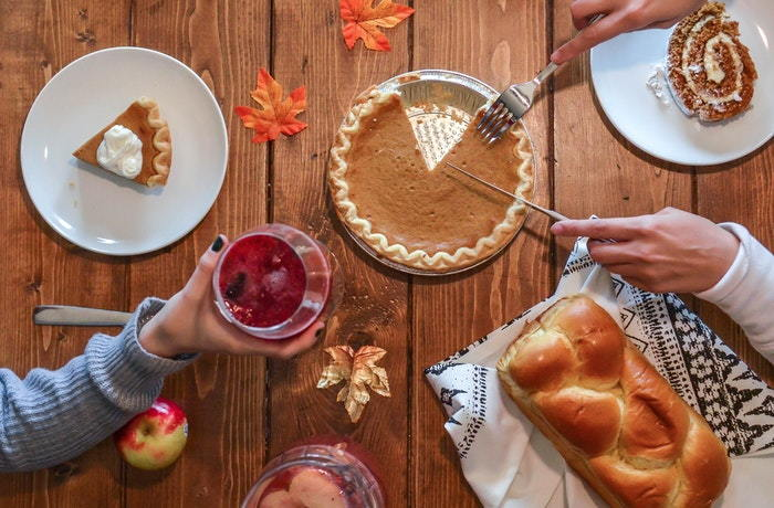harvest meal with pumpkin pie