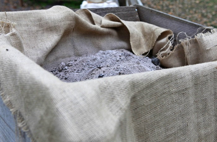 wood ash in a bin